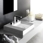 This bathroom features the new Rettangolo countertop sink bathroom, bathroom sink, floor, interior design, plumbing fixture, product design, sink, tap, white, black