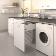 As well as offering convenient rubbish disposal, Tanova clothes dryer, countertop, home appliance, kitchen, laundry, laundry room, major appliance, product, product design, room, washing machine, white