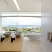 Guest bathroom with views over the Indian Ocean architecture, ceiling, daylighting, floor, house, interior design, product design, gray