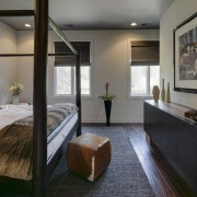 A freestanding wall separates the sleeping and sitting architecture, house, interior design, real estate, room, gray, black