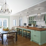 For this remodel, a new kitchen and breakfast cabinetry, ceiling, countertop, cuisine classique, dining room, furniture, home, interior design, kitchen, real estate, room, table, white