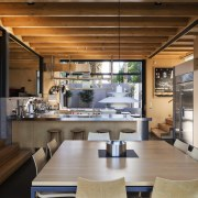 The minimal timber and steel material palette in interior design, table, brown