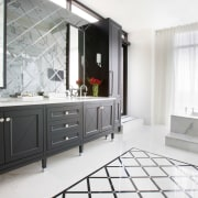 In this master bathroom, the diagonal grid pattern bathroom, bathroom accessory, bathroom cabinet, floor, home, interior design, property, room, sink, white