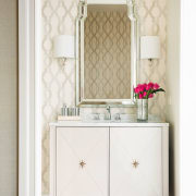 The owner's daughter wanted a feminine look for bathroom, bathroom accessory, bathroom cabinet, ceramic, chest of drawers, drawer, floor, furniture, interior design, plumbing fixture, product, product design, room, sink, tap, tile, white