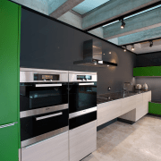 In this new Poggenpohl kitchen black glass and architecture, countertop, glass, house, interior design, kitchen, wall, gray, black