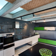 In this new Poggenpohl kitchen black glass and architecture, ceiling, countertop, daylighting, house, interior design, kitchen, loft, gray, black