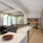 Providing ample bench space was a priority for ceiling, countertop, interior design, kitchen, real estate, room, gray