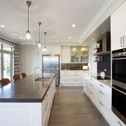 Room with a view  this new kitchen countertop, cuisine classique, interior design, kitchen, real estate, room, gray, white