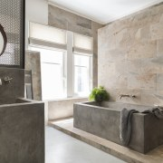 This bathroom earned Highly Commended in the Australian bathroom, floor, flooring, home, interior design, room, tile, wall, gray