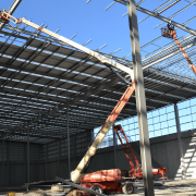 D&H Steel Construction riggers work on the roof construction, roof, scaffolding, steel, structure, black