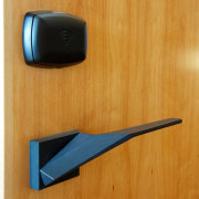 The angular shape of these handles by Chant product design, orange, brown