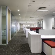 Workspaces are on the perimeter of the building, ceiling, floor, flooring, interior design, office, gray