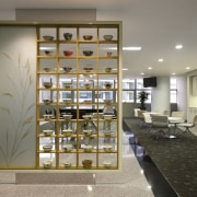 In this fit-out of the CIMB tower by interior design, shelving, gray