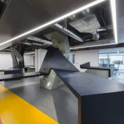 In the satellite Arup office in downtown LA interior design, product design, gray, black
