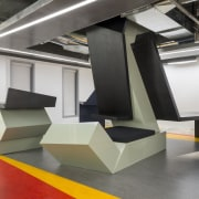 In the satellite Arup office in downtown LA floor, furniture, interior design, product design, table, gray, white