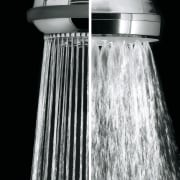 Satinjet rainshower compared to conventional shower black and white, plumbing fixture, water, black, gray