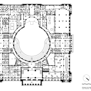 Code-compliant heritage restoration of Brisbane City Hall area, black and white, circle, design, diagram, drawing, floor plan, font, line, line art, monochrome, music, pattern, square, text, white