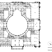Code-compliant heritage restoration of Brisbane City Hall area, black and white, circle, design, diagram, drawing, floor plan, font, line, monochrome, music, square, text, white