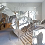 Crumpled polished stainless steel forms the balustrading on interior design, product design, structure, gray