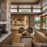 Clerestory windows allow plenty of natural light to interior design, living room, lobby, real estate, brown, gray