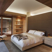 This master bedroom is separated from the bathroom architecture, bed frame, bedroom, ceiling, floor, hardwood, interior design, real estate, room, wall, wood, wood flooring, brown