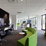 The new Ricoh office in Auckland has a architecture, desk, interior design, office, product design, gray, black