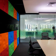 The presentation room on the client floor of architecture, glass, interior design, lobby, office, black