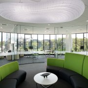 Executive offices in the Ricoh building in Auckland architecture, ceiling, daylighting, interior design, lobby, office, real estate, window, gray, white