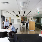 Breakout areas in the new Ricoh office in institution, interior design, office, white, gray, black