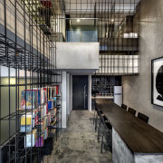 The black steel rods divide the space and architecture, building, interior design, lobby, loft, gray, black