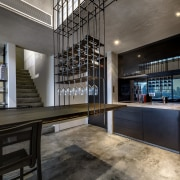 Using the rods to suspend as well as architecture, interior design, lobby, loft, gray, black