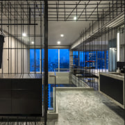 Due to the transparency of the interior, the interior design, black, gray
