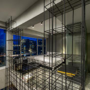 This unit is transformed at night, with views architecture, building, daylighting, glass, interior design, black, gray