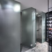 Frosted glass privacy dividers screen the toilet and interior design, gray, black