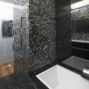 The black and white mosaic pattern in this architecture, bathroom, daylighting, floor, flooring, glass, interior design, room, tile, wall, black, gray