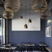 Resene San Juan is the feature colour, with ceiling, chandelier, dining room, furniture, interior design, lamp, light fixture, lighting, lighting accessory, restaurant, table, black