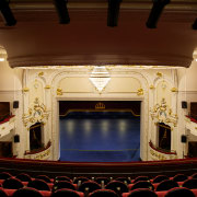 In the Isaac Theatre Royal restoration in Christchurch auditorium, interior design, performing arts center, stage, theatre, red