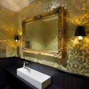 Bathrooms on the Dress Circle and Grand Circle bathroom, ceiling, floor, flooring, interior design, lighting, room, suite, tile, wall, brown, black