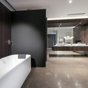 Wood and glass  a timber veneer wall architecture, bathroom, countertop, floor, flooring, interior design, product design, room, sink, tile, gray, black