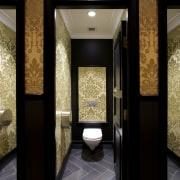 Bathrooms on the Dress Circle and Grand Circle bathroom, ceiling, interior design, lighting, lobby, room, black, brown