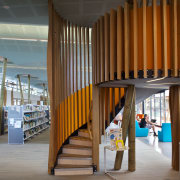 The Waiheke library provides a variety of seating architecture, interior design, wood, brown, gray