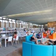The Waiheke library provides a variety of seating institution, library, public library, gray