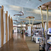 In the new Waiheke library, tall timber columns ceiling, institution, interior design, library, public library, gray, brown