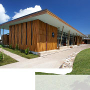 Carved timber battens wrap around the exterior of architecture, facade, home, house, property, real estate, shed, white