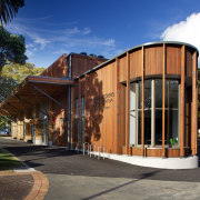 The new Devonport Library reflects a crafted, semi-residential architecture, building, facade, home, house, real estate, residential area, black