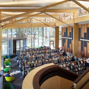 The interior of the Devonport Library continues the institution, interior design, library, library science, organization, public library, brown