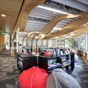 The childrens area in the Devonport Library is institution, interior design, brown