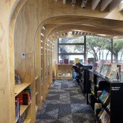 The childrens area in the Devonport Library has architecture, interior design, lobby, brown