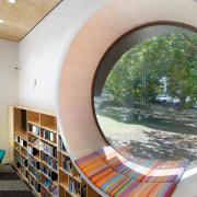 The young adults section of the Devonport Library architecture, ceiling, daylighting, interior design, gray