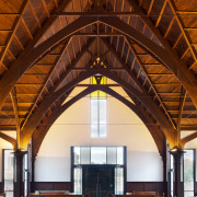 Heart rimu timber features on the vaulted ceiling arch, architecture, beam, building, ceiling, chapel, church, daylighting, place of worship, roof, structure, wood, brown